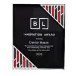 Black Acrylic Plaque with Accent and Mirror Corner Sales Awards